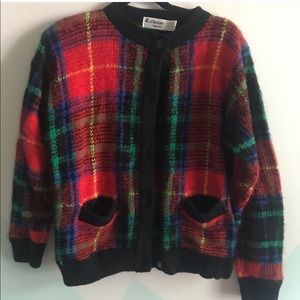 Funky vintage PLAID sweater cardigan sz M